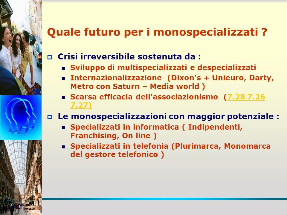 Tabella 7.18 Fonte: Cermes-Università Bocconi, elaborazione su dati diversi formati numerica punti di vendita % vendite reparti eldom su totale GRANDI IPERMERCATI (oltre 6.500 mq) 20316,5 PICCOLI IPERMERCATI (fino a 6.500 mq) 19813,5 SUPERSTORE3876,9 SUPERMERCATI8.661 3,4 SUPERETTE8.6981,3 MERCATONI18519,0 Totale Mass Merchandise18.3317,2 Tabella 7.14 Il peso delle vendite di elettrodomestici/elettronica di consumo nella distribuzione despecializzata (valori 2009) Fonte: Cermes-Università Bocconi, elaborazione su dati diversi
