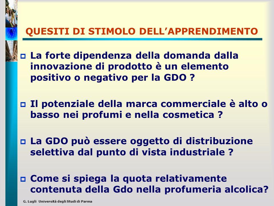 G. Lugli Università degli Studi di Parma QUESITI DI STIMOLO DELLAPPRENDIMENTO La forte dipendenza della domanda dalla innovazione di prodotto è un ele