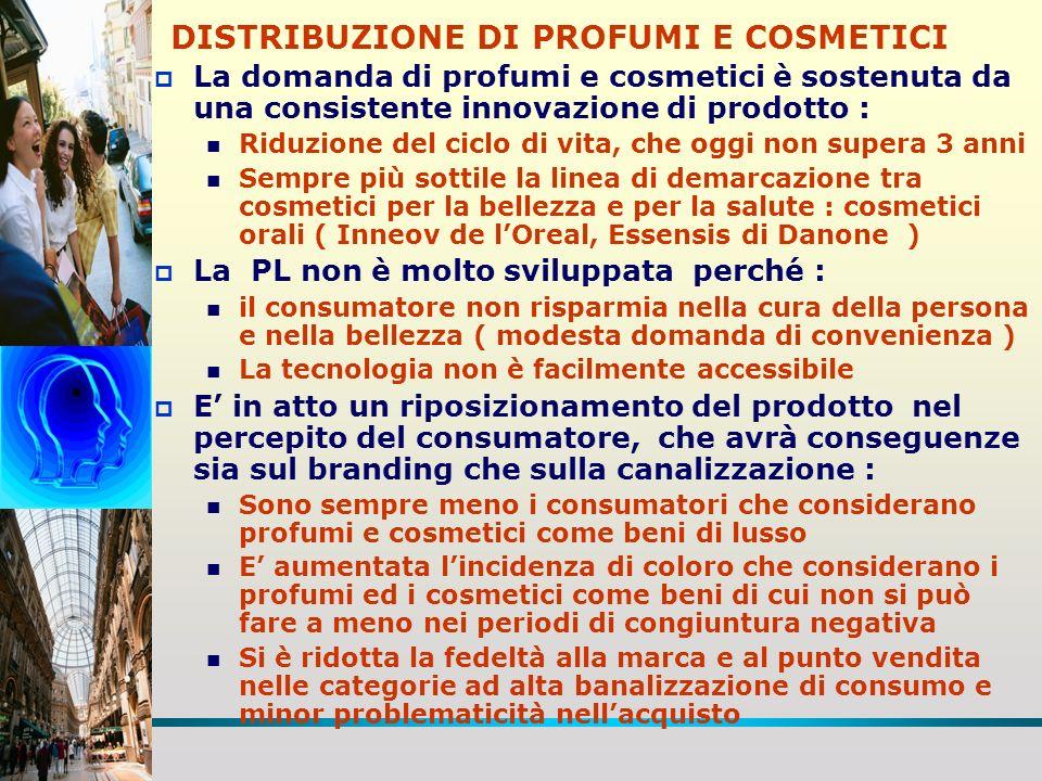 DISTRIBUZIONE DI PROFUMI E COSMETICI STRUTTURA E PERFORMANCE DISTRIBUTIVA Evoluzione delle quote dei canali/formati distributivi ( t 6.5 ) ( t 6.5 ) La quota del mass market è ancora molto distante da quella degli altri paesi, ma in forte recupero La profumeria ha perso 10 punti di quota a favore del mass market Crescita della farmacia, grazie allofferta di cosmetici con marchi esclusivi e posizionamento salutistico, a fronte però di una riduzione del suo peso n ( t.6.5 ) Diversa quota dei formati per tipologia di prodotto in rapporto alla banalizzazione del consumo-acquisto Sviluppo delle attività di trade marketing e di merchandising IDM nei punti vendita per sostenere il sell out