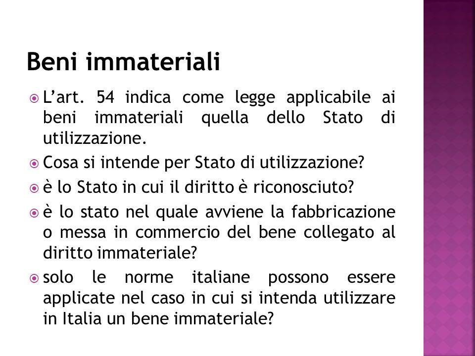 Lart. 54 indica come legge applicabile ai beni immateriali quella dello Stato di utilizzazione.
