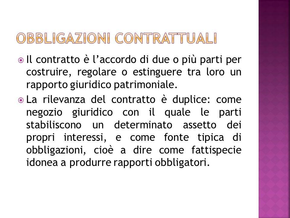 Il contratto è laccordo di due o più parti per costruire, regolare o estinguere tra loro un rapporto giuridico patrimoniale.