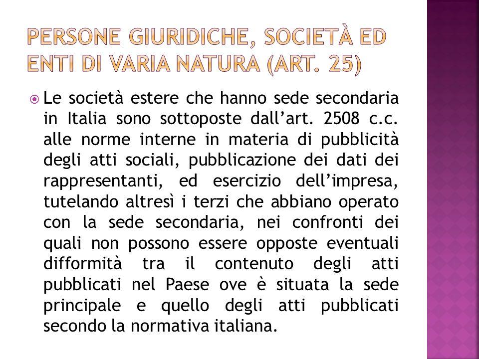 Le società estere che hanno sede secondaria in Italia sono sottoposte dallart.