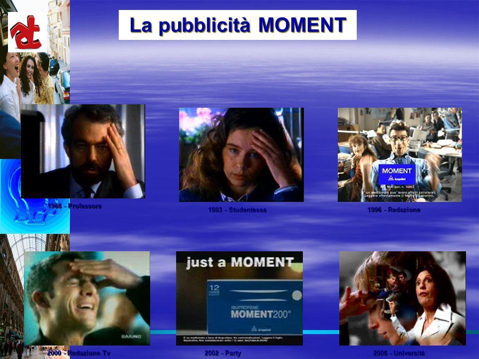 La pubblicità MOMENT 1988 - Professore 1993 - Studentessa 1996 - Redazione 2000 - Redazione Tv 2002 - Party 2006 - Università