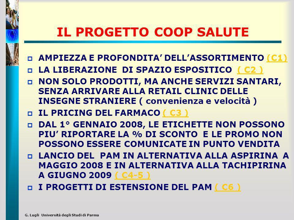 G. Lugli Università degli Studi di Parma IL PROGETTO COOP SALUTE AMPIEZZA E PROFONDITA DELLASSORTIMENTO (C1)(C1) LA LIBERAZIONE DI SPAZIO ESPOSITICO (