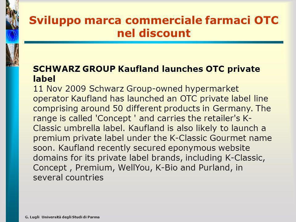 G. Lugli Università degli Studi di Parma Sviluppo marca commerciale farmaci OTC nel discount SCHWARZ GROUP Kaufland launches OTC private label 11 Nov