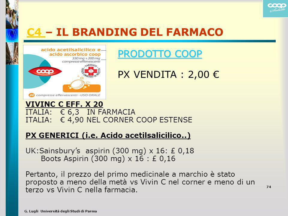 G. Lugli Università degli Studi di Parma C4 C4 – IL BRANDING DEL FARMACO 74 VIVINC C EFF. X 20 ITALIA: 6,3 IN FARMACIA ITALIA: 4,90 NEL CORNER COOP ES
