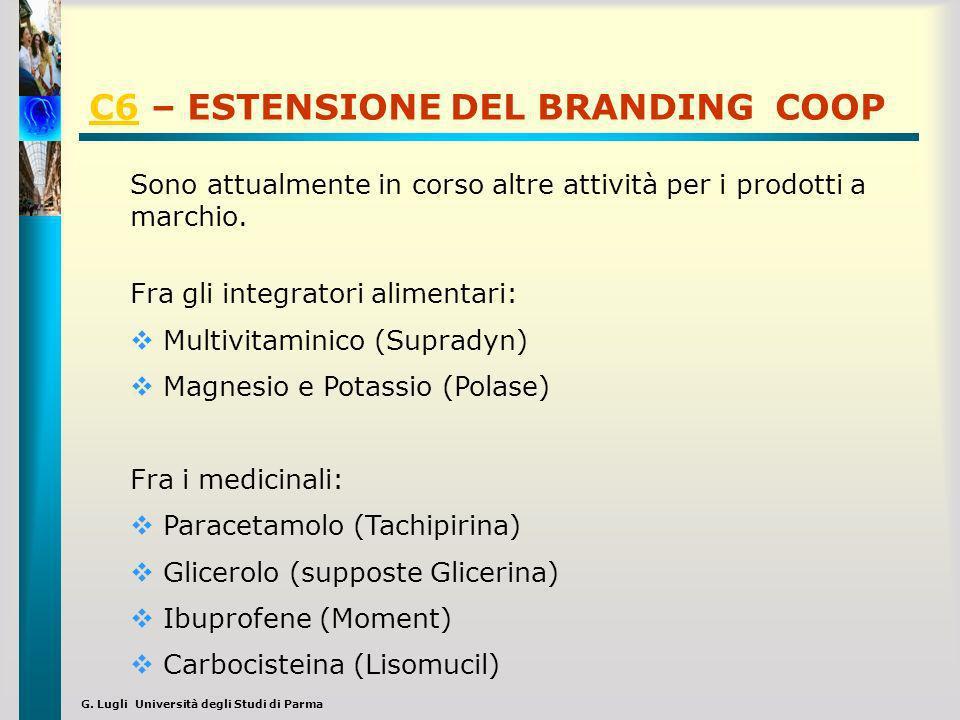 G. Lugli Università degli Studi di Parma C6C6 – ESTENSIONE DEL BRANDING COOP Sono attualmente in corso altre attività per i prodotti a marchio. Fra gl