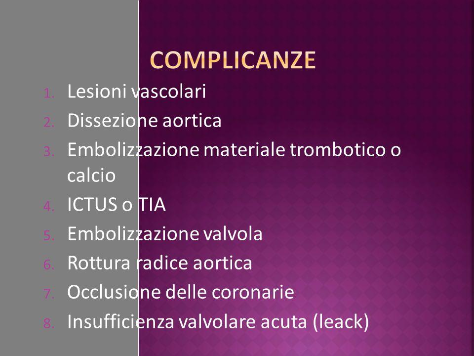 1. Lesioni vascolari 2. Dissezione aortica 3. Embolizzazione materiale trombotico o calcio 4. ICTUS o TIA 5. Embolizzazione valvola 6. Rottura radice