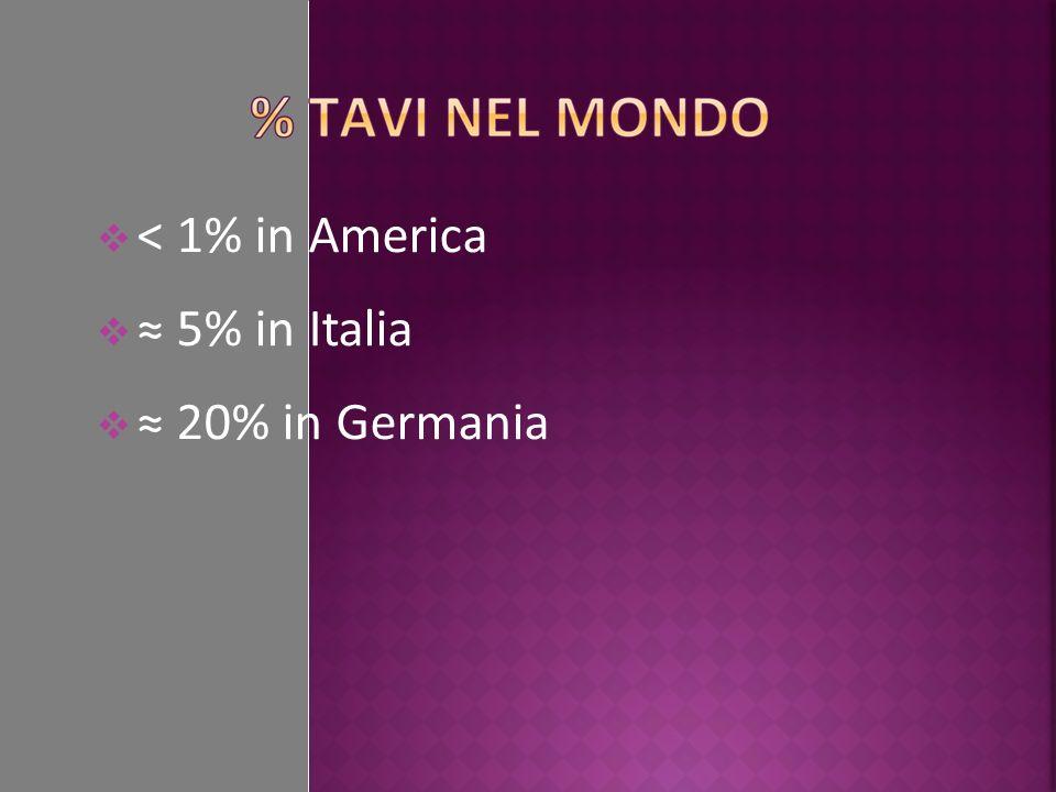 < 1% in America 5% in Italia 20% in Germania