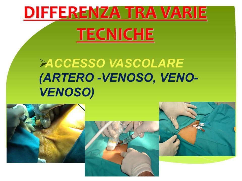 DIFFERENZA TRA VARIE TECNICHE ACCESSO VASCOLARE (ARTERO -VENOSO, VENO- VENOSO)