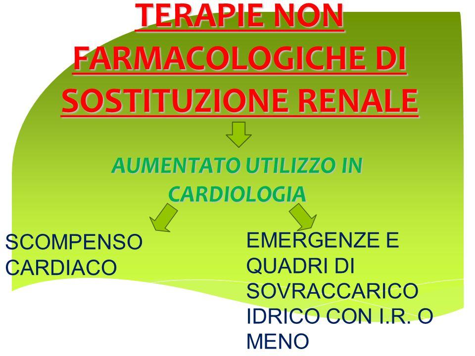 TERAPIE NON FARMACOLOGICHE DI SOSTITUZIONE RENALE AUMENTATO UTILIZZO IN CARDIOLOGIA SCOMPENSO CARDIACO EMERGENZE E QUADRI DI SOVRACCARICO IDRICO CON I