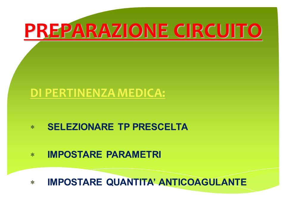 DI PERTINENZA MEDICA: SELEZIONARE TP PRESCELTA IMPOSTARE PARAMETRI IMPOSTARE QUANTITA ANTICOAGULANTE PREPARAZIONE CIRCUITO