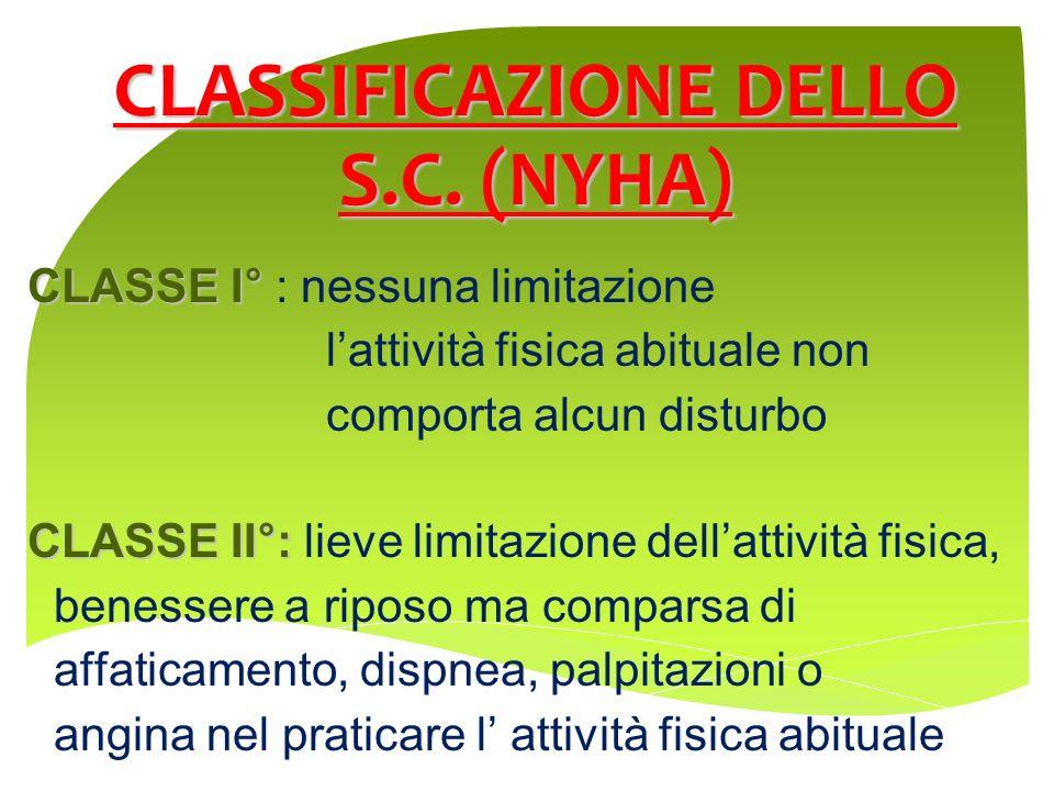 CLASSIFICAZIONE DELLO S.C. (NYHA) CLASSE I° CLASSE I° : nessuna limitazione lattività fisica abituale non comporta alcun disturbo CLASSE II°: CLASSE I