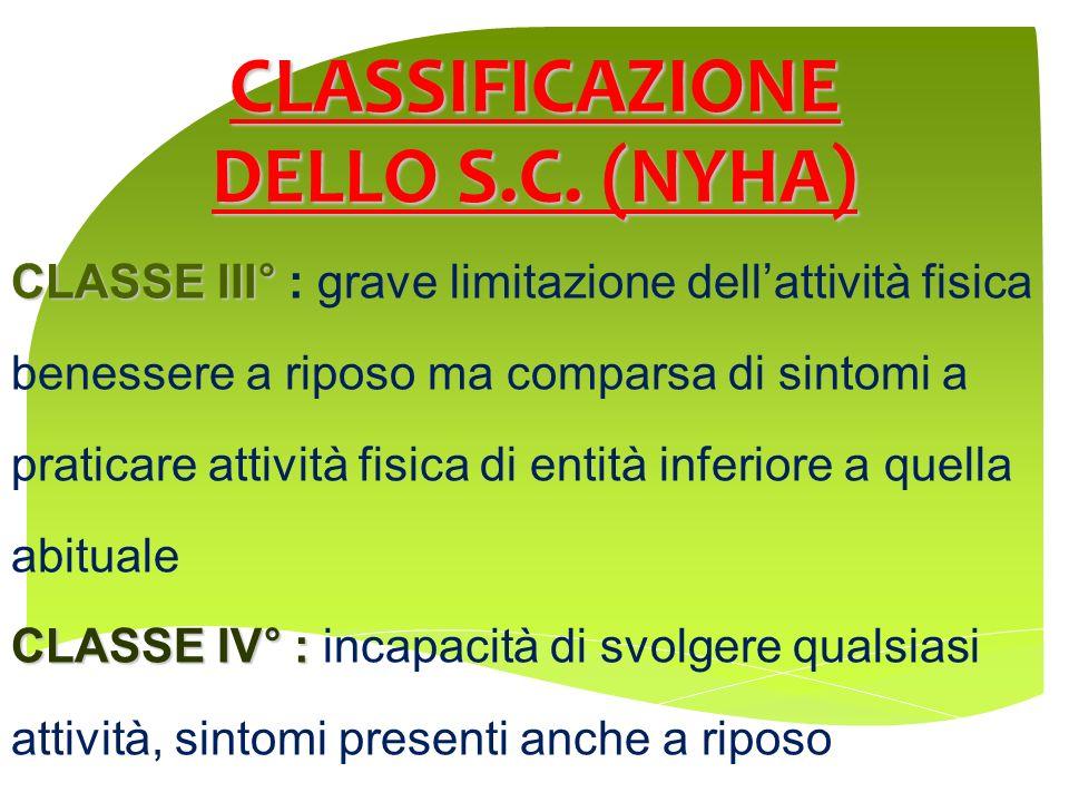 CLASSIFICAZIONE DELLO S.C. (NYHA) CLASSE III° CLASSE III° : grave limitazione dellattività fisica benessere a riposo ma comparsa di sintomi a praticar