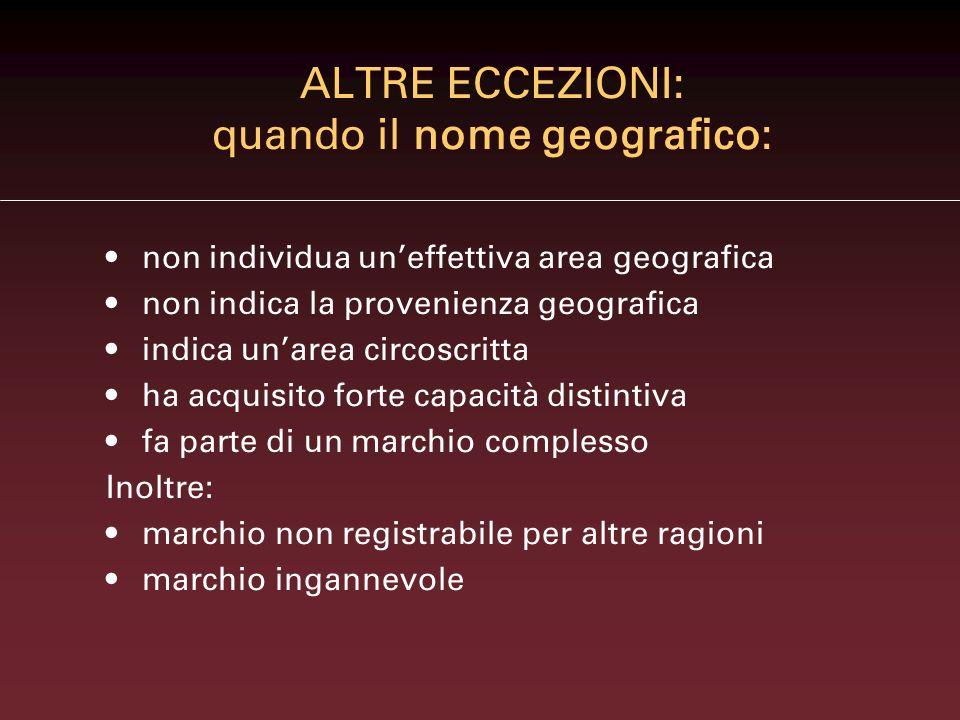 Denominazione generica di provenienza geografica PANETTONE MILANO MOZZARELLA MILANO Entrambi vietati
