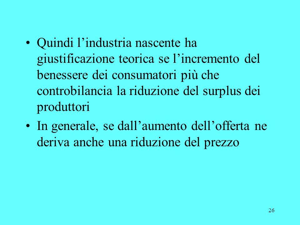 26 Quindi lindustria nascente ha giustificazione teorica se lincremento del benessere dei consumatori più che controbilancia la riduzione del surplus dei produttori In generale, se dallaumento dellofferta ne deriva anche una riduzione del prezzo