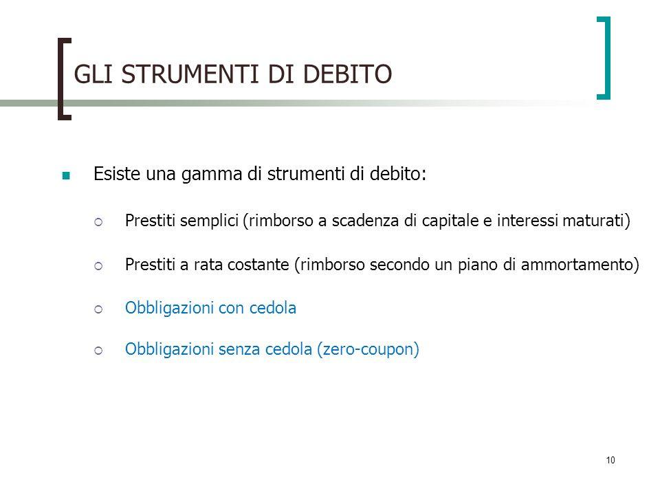 10 GLI STRUMENTI DI DEBITO Esiste una gamma di strumenti di debito: Prestiti semplici (rimborso a scadenza di capitale e interessi maturati) Prestiti