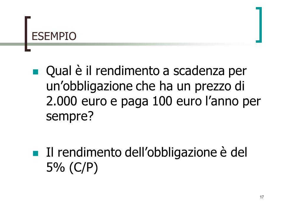 ESEMPIO Qual è il rendimento a scadenza per unobbligazione che ha un prezzo di 2.000 euro e paga 100 euro lanno per sempre? Il rendimento dellobbligaz