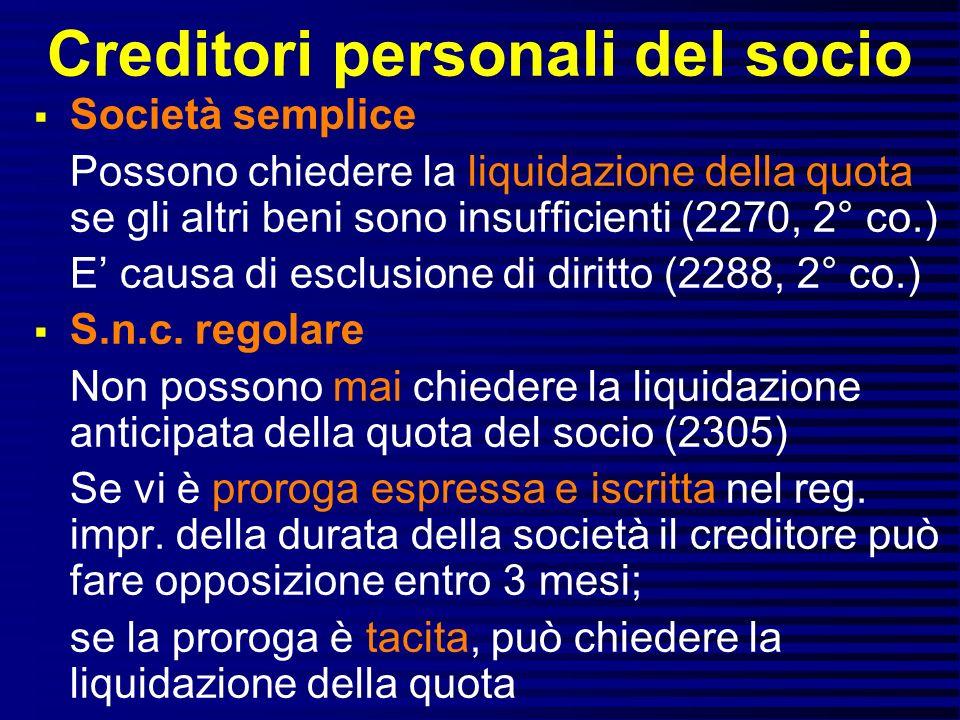 Creditori personali del socio Società semplice Possono chiedere la liquidazione della quota se gli altri beni sono insufficienti (2270, 2° co.) E causa di esclusione di diritto (2288, 2° co.) S.n.c.