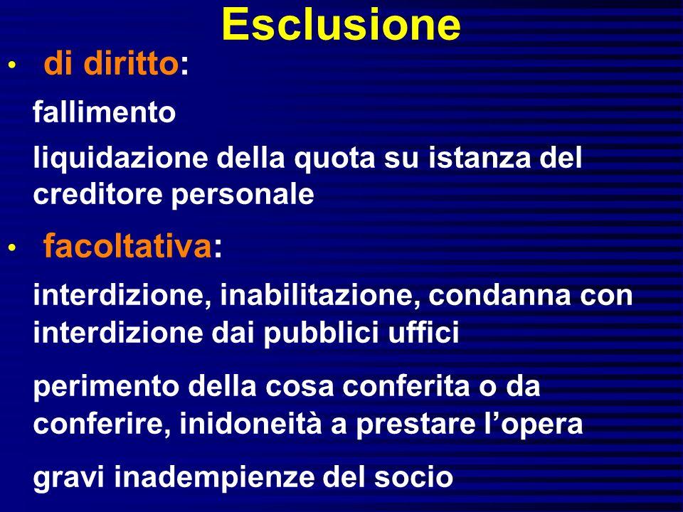 Esclusione di diritto: fallimento liquidazione della quota su istanza del creditore personale facoltativa: interdizione, inabilitazione, condanna con
