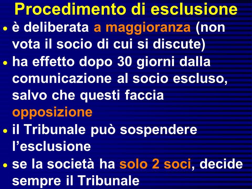Procedimento di esclusione è deliberata a maggioranza (non vota il socio di cui si discute) ha effetto dopo 30 giorni dalla comunicazione al socio esc