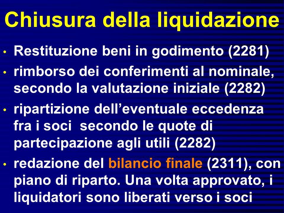 Chiusura della liquidazione Restituzione beni in godimento (2281) rimborso dei conferimenti al nominale, secondo la valutazione iniziale (2282) ripart