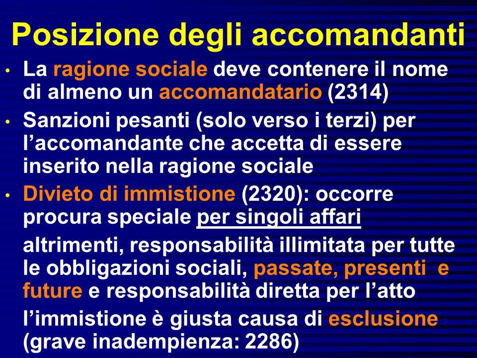 Posizione degli accomandanti La ragione sociale deve contenere il nome di almeno un accomandatario (2314) Sanzioni pesanti (solo verso i terzi) per la