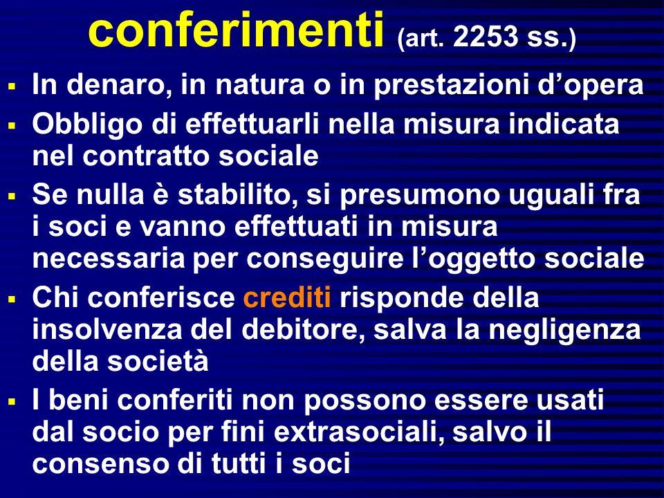 conferimenti (art. 2253 ss. ) In denaro, in natura o in prestazioni dopera Obbligo di effettuarli nella misura indicata nel contratto sociale Se nulla