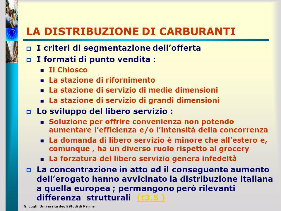 G. Lugli Università degli Studi di Parma LA DISTRIBUZIONE DI CARBURANTI I criteri di segmentazione dellofferta I formati di punto vendita : Il Chiosco