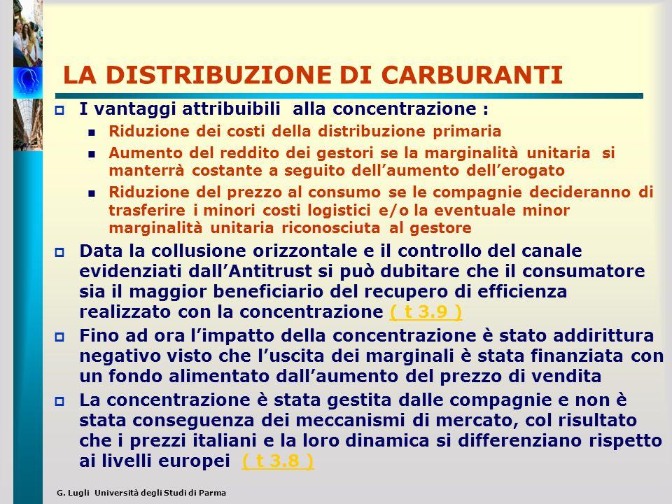 G. Lugli Università degli Studi di Parma LA DISTRIBUZIONE DI CARBURANTI I vantaggi attribuibili alla concentrazione : Riduzione dei costi della distri