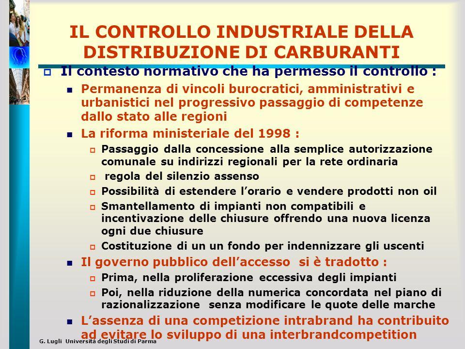 G. Lugli Università degli Studi di Parma IL CONTROLLO INDUSTRIALE DELLA DISTRIBUZIONE DI CARBURANTI Il contesto normativo che ha permesso il controllo
