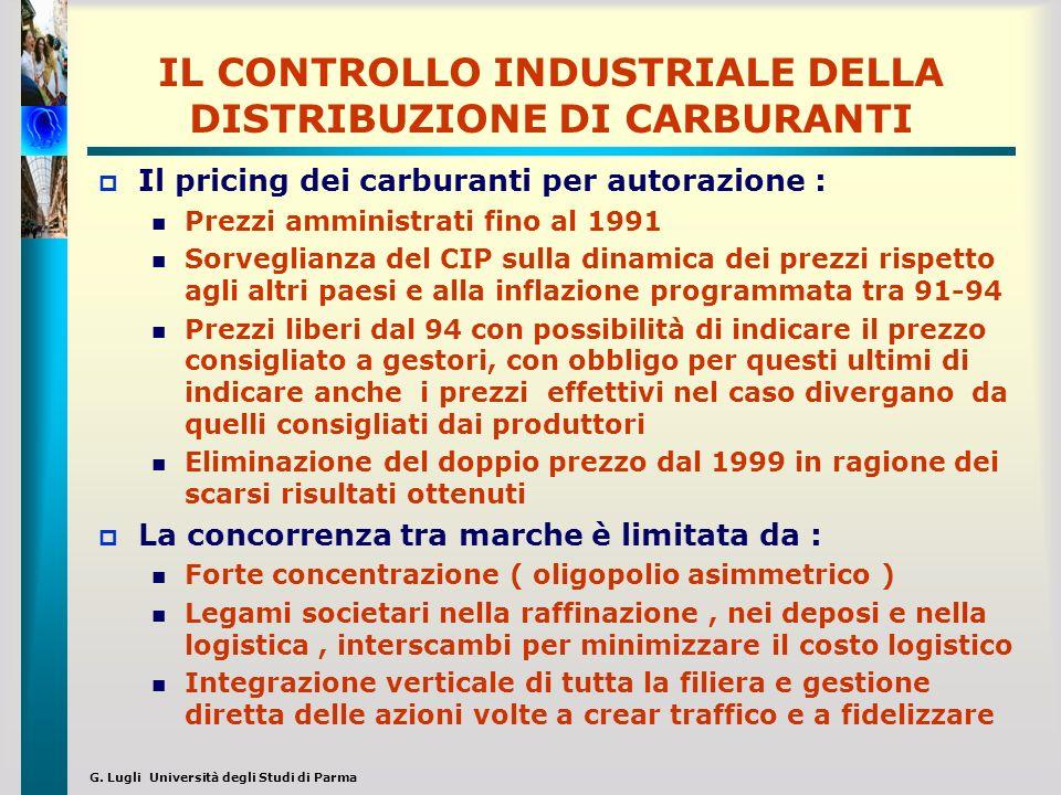 G. Lugli Università degli Studi di Parma IL CONTROLLO INDUSTRIALE DELLA DISTRIBUZIONE DI CARBURANTI Il pricing dei carburanti per autorazione : Prezzi