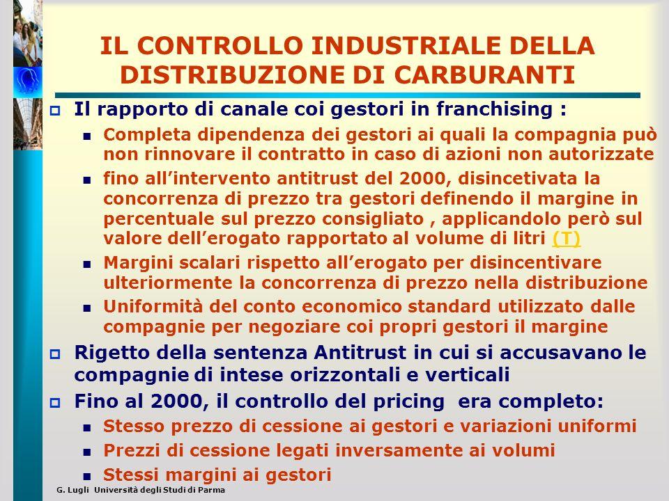 G. Lugli Università degli Studi di Parma IL CONTROLLO INDUSTRIALE DELLA DISTRIBUZIONE DI CARBURANTI Il rapporto di canale coi gestori in franchising :