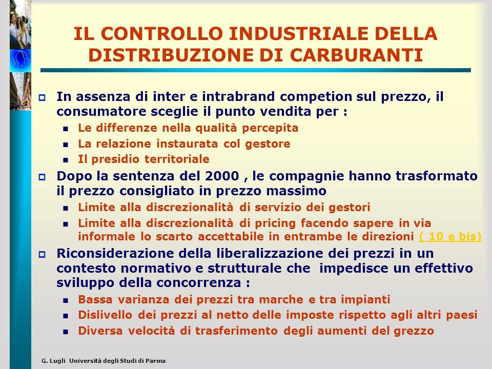 G. Lugli Università degli Studi di Parma IL CONTROLLO INDUSTRIALE DELLA DISTRIBUZIONE DI CARBURANTI In assenza di inter e intrabrand competion sul pre