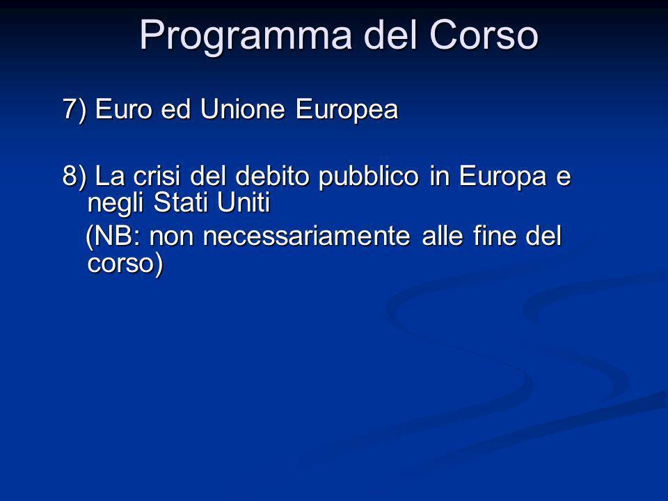 Programma del Corso 7) Euro ed Unione Europea 8) La crisi del debito pubblico in Europa e negli Stati Uniti (NB: non necessariamente alle fine del cor