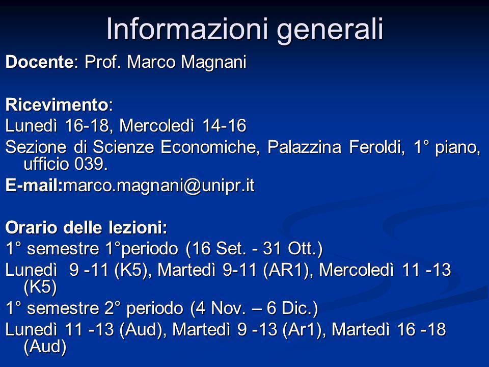 Informazioni generali Docente: Prof. Marco Magnani Ricevimento: Lunedì 16-18, Mercoledì 14-16 Sezione di Scienze Economiche, Palazzina Feroldi, 1° pia