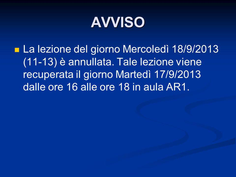 AVVISO La lezione del giorno Mercoledì 18/9/2013 (11-13) è annullata. Tale lezione viene recuperata il giorno Martedì 17/9/2013 dalle ore 16 alle ore