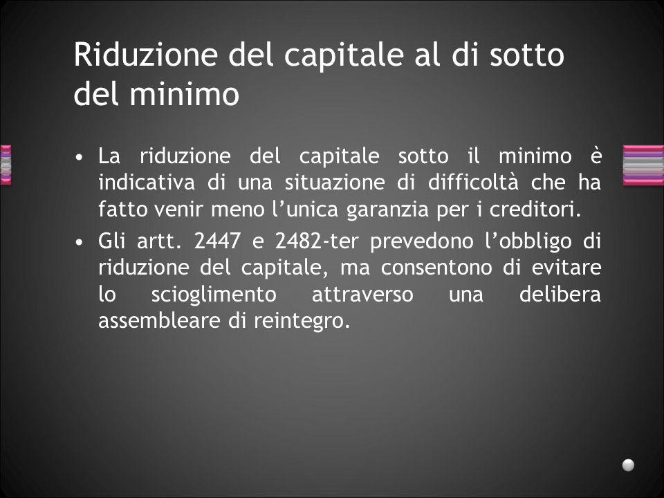 Riduzione del capitale al di sotto del minimo La riduzione del capitale sotto il minimo è indicativa di una situazione di difficoltà che ha fatto venir meno lunica garanzia per i creditori.