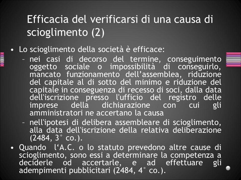 Efficacia del verificarsi di una causa di scioglimento (2) Lo scioglimento della società è efficace: –nei casi di decorso del termine, conseguimento o