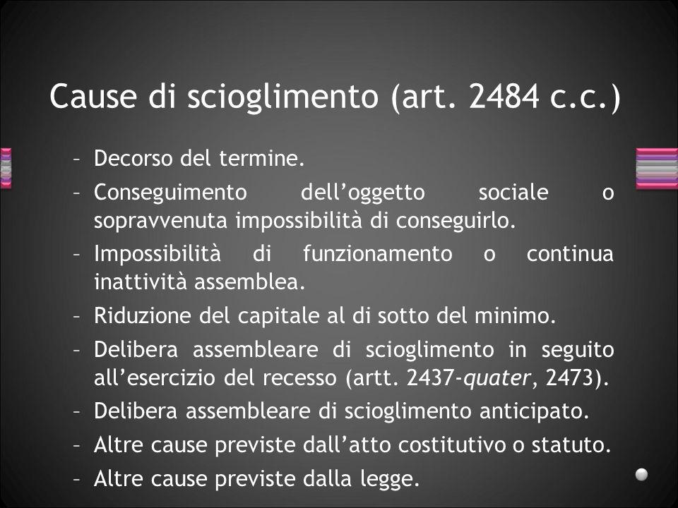 Cause di scioglimento (art. 2484 c.c.) –Decorso del termine.