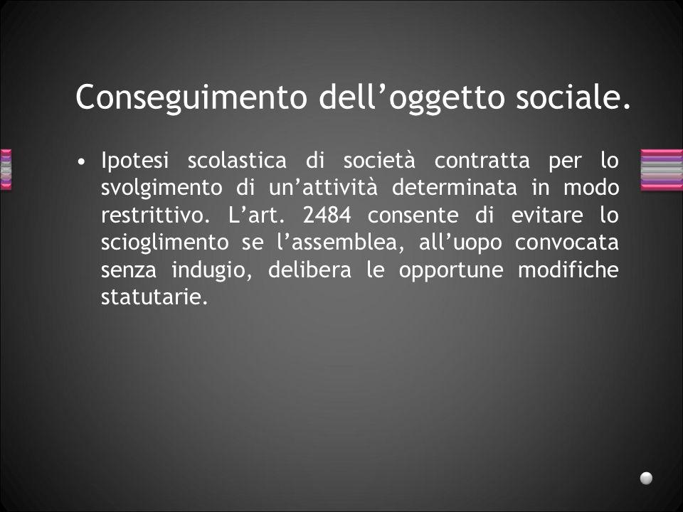 Conseguimento delloggetto sociale. Ipotesi scolastica di società contratta per lo svolgimento di unattività determinata in modo restrittivo. Lart. 248
