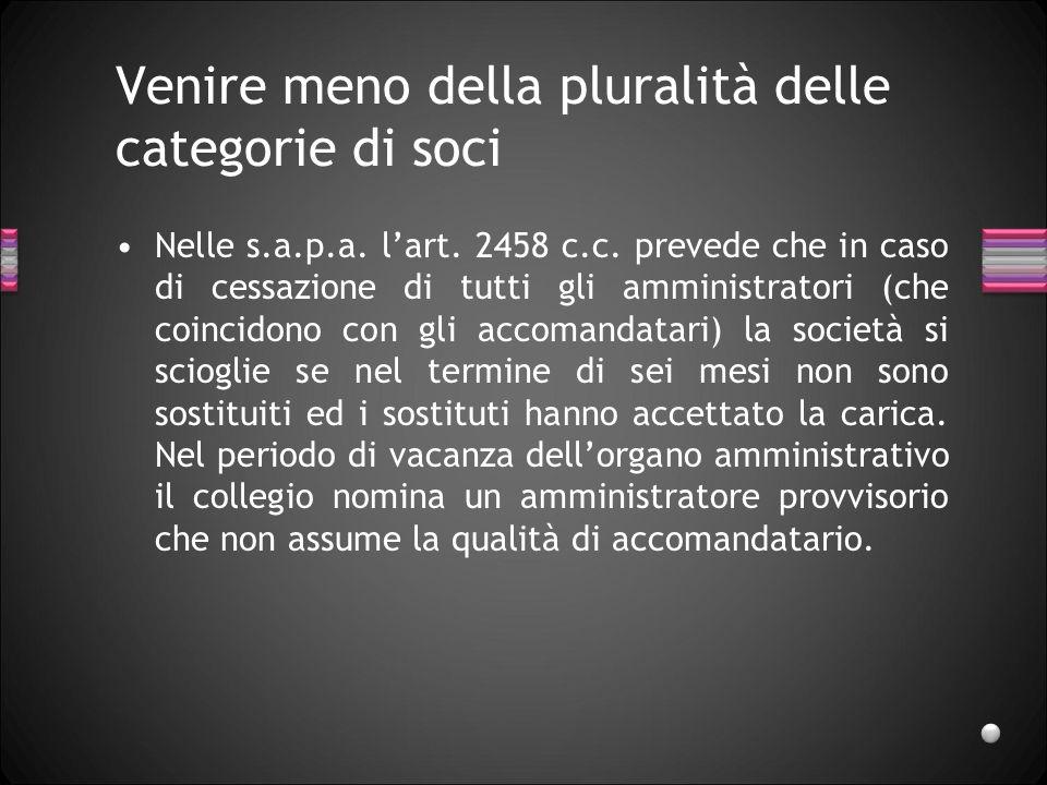 Venire meno della pluralità delle categorie di soci Nelle s.a.p.a. lart. 2458 c.c. prevede che in caso di cessazione di tutti gli amministratori (che