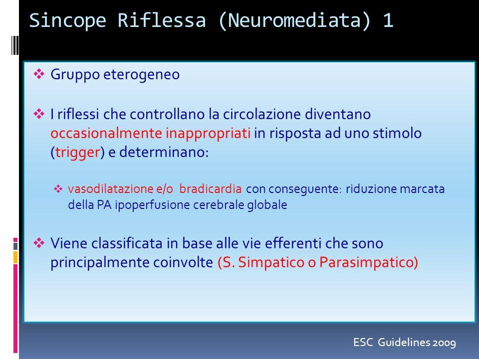 Sincope Riflessa (Neuromediata) 1 Gruppo eterogeneo I riflessi che controllano la circolazione diventano occasionalmente inappropriati in risposta ad