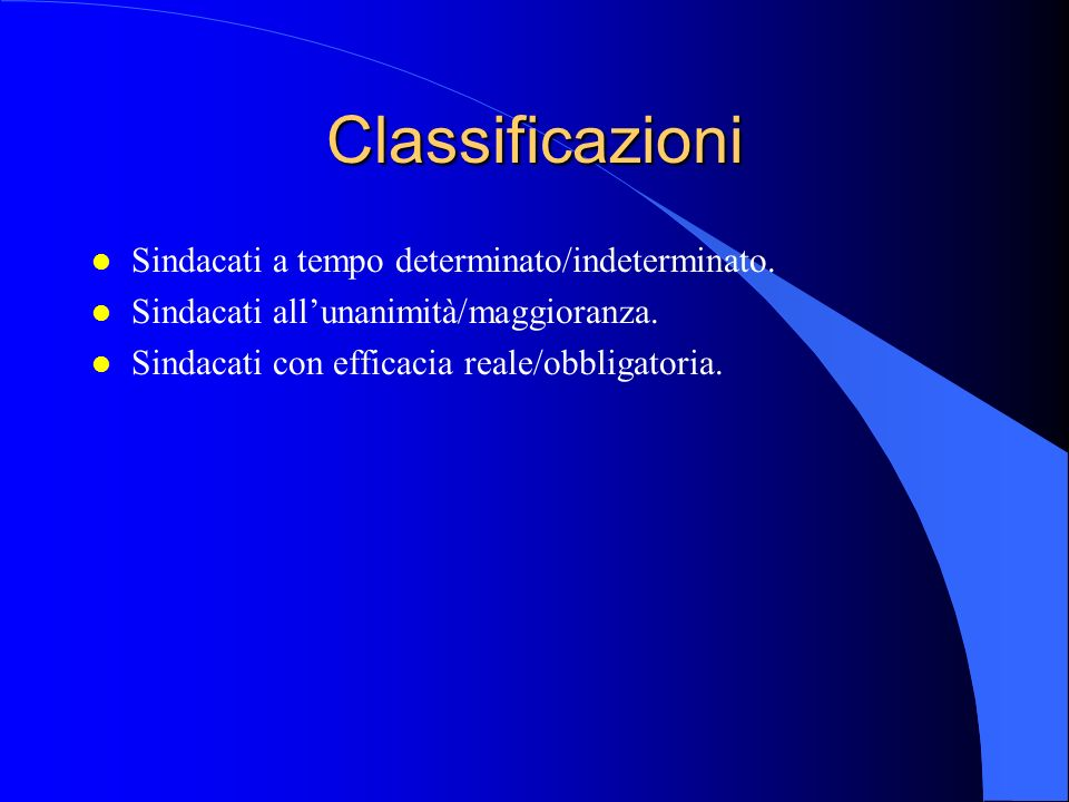 Classificazioni l Sindacati a tempo determinato/indeterminato.