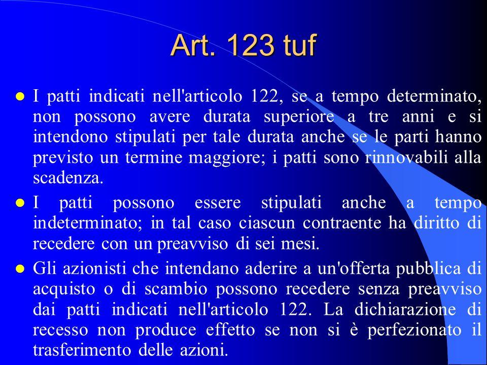 Art. 123 tuf l I patti indicati nell'articolo 122, se a tempo determinato, non possono avere durata superiore a tre anni e si intendono stipulati per