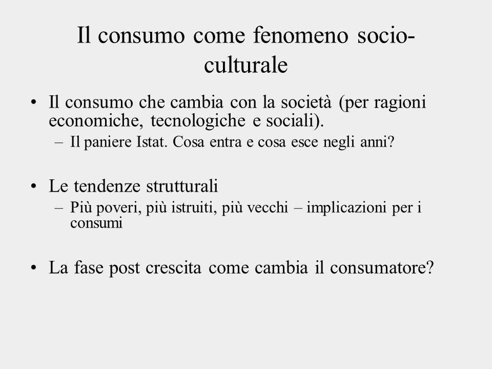 Il consumo come fenomeno socio- culturale Il consumo che cambia con la società (per ragioni economiche, tecnologiche e sociali). –Il paniere Istat. Co