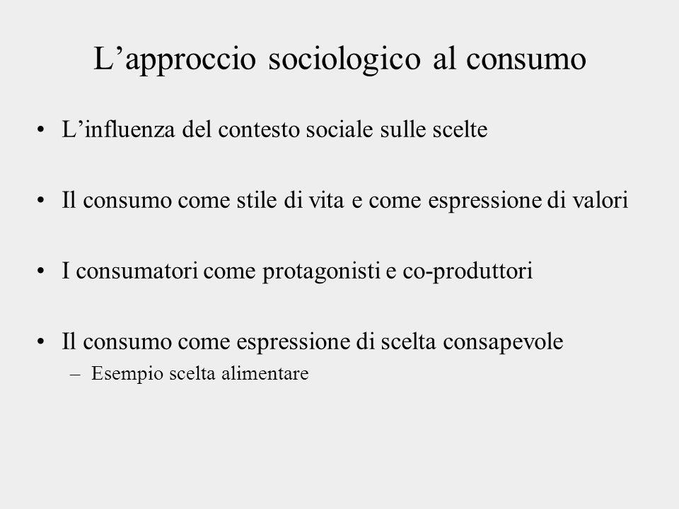 Lapproccio sociologico al consumo Linfluenza del contesto sociale sulle scelte Il consumo come stile di vita e come espressione di valori I consumator