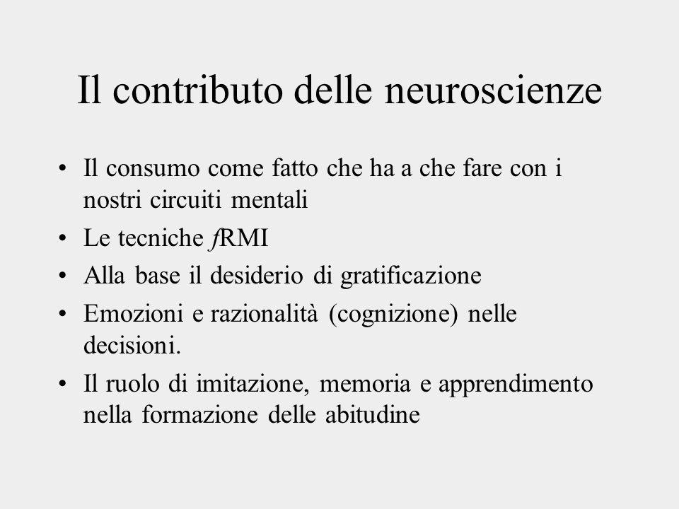 Il contributo delle neuroscienze Il consumo come fatto che ha a che fare con i nostri circuiti mentali Le tecniche fRMI Alla base il desiderio di grat