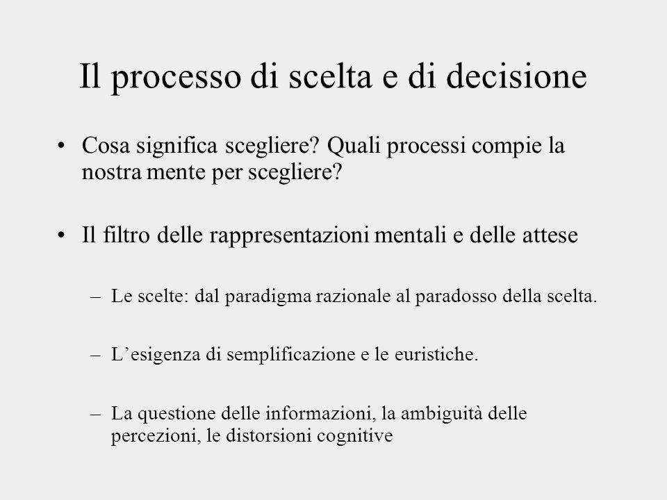 Il processo di scelta e di decisione Cosa significa scegliere? Quali processi compie la nostra mente per scegliere? Il filtro delle rappresentazioni m