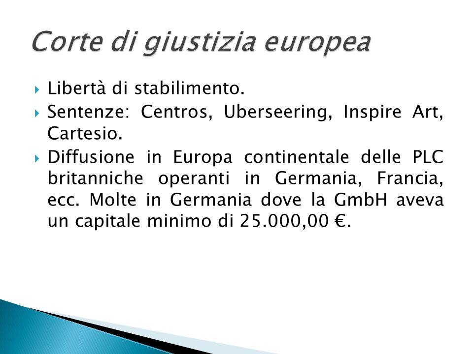 Libertà di stabilimento. Sentenze: Centros, Uberseering, Inspire Art, Cartesio. Diffusione in Europa continentale delle PLC britanniche operanti in Ge